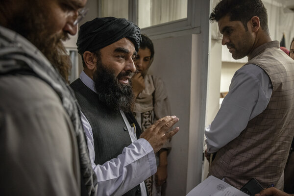 Zabihullah Mujahid, a senior Taliban official, after a briefing in the Ministry of Information and Culture in Kabul on Tuesday.