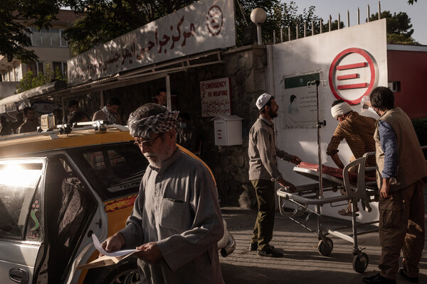 A gunshot victim being transported to the Emergency NGO hospital in Kabul on Friday.