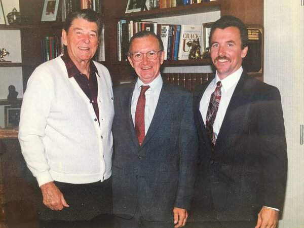 Mr. Clotworthy, center, with his son Donald and Ronald Reagan in 1994. He was friends with Reagan and was among those who encouraged him to move from acting into politics.