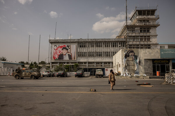 The control tower and domestic terminal at the airport in Kabul, Afghanistan, on Tuesday.