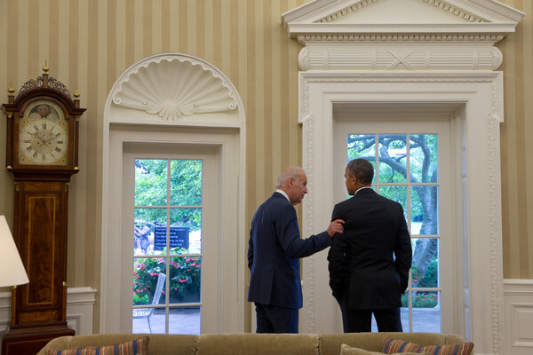 President Obama and Vice President Joseph R. Biden Jr. in the Oval Office in 2015. Mr. Biden opposed the troop surge Mr. Obama ordered in Afghanistan in 2009.