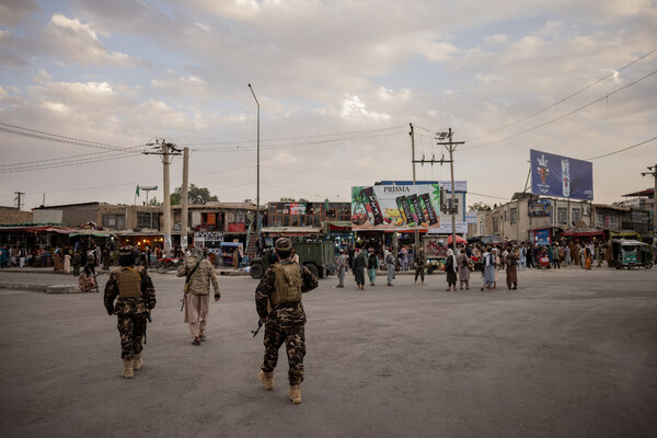 Taliban forces on a Kabul street on Monday.