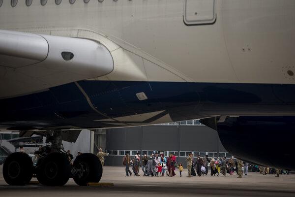 Afghan evacuees at the Ramstein Air Base in Germany this week.