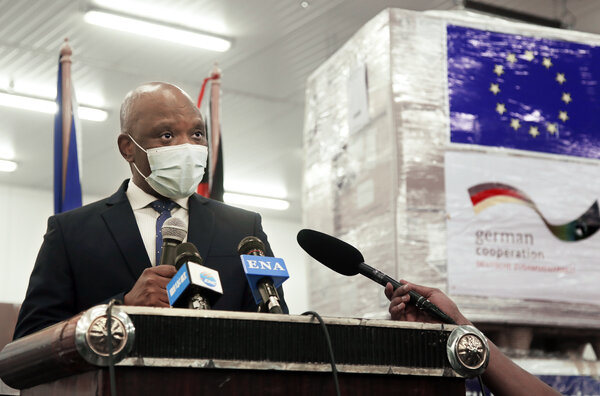 Dr. John Nkengasong, Director of the Africa Centers for Disease Control and Prevention at the handover ceremony of EU's donation of 900,000 COVID-19 testing kits to the African C.D.C. in Ethiopia in October 2020.