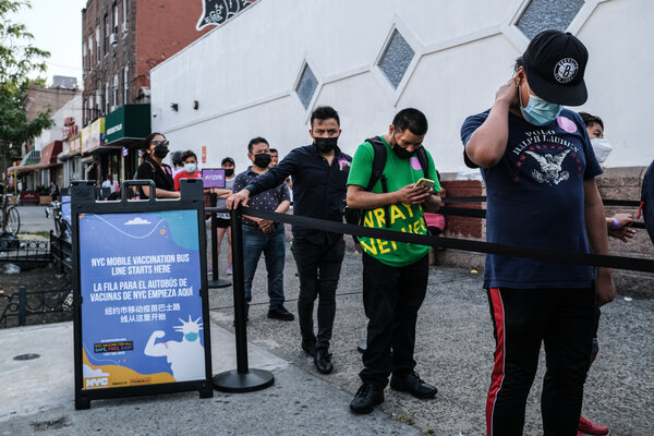 A line for Covid vaccinations last month in Corona, Queens, one of the New York neighborhoods that were hit earliest and hardest in the country at the start of the pandemic.
