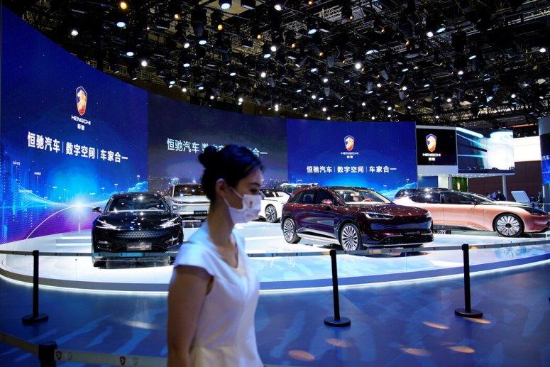 今年4月,上海车展上展示的恒大电动汽车。