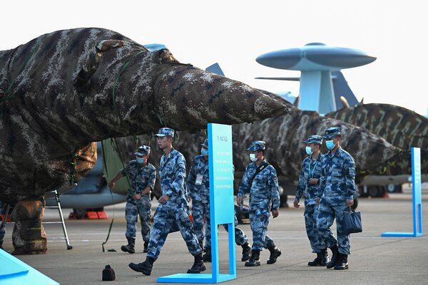 Planes from the People's Liberation Army Air Force were covered before the opening an aviation expo in Zhuhai, China, last month.