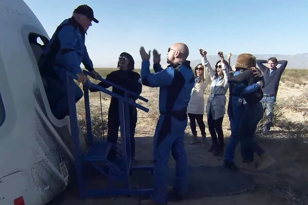 Mr. Shatner emerged from the New Shepard capsule after a safe landing on Wednesday.