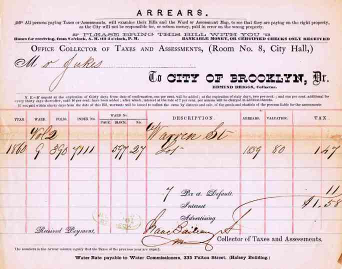 Tax bill, City of Brooklyn, 1861.