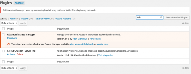 CM Fast Live Search Filter – Filtering Of the Plugins Page