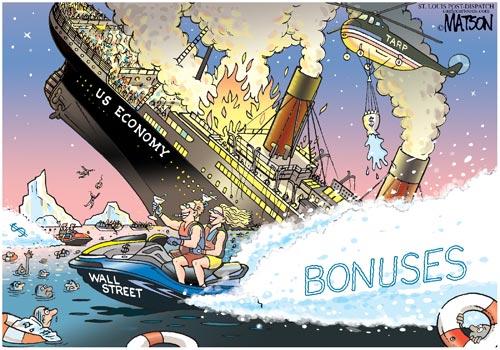 Wall Street bonuses, cartoon from the USA