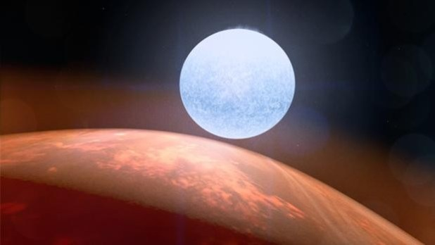 Recreación del exoplaneta Kelt-9 b junto a su estrella