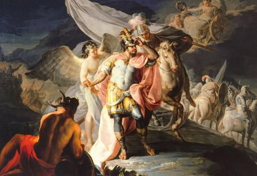 Aníbal contemplando Italia por primera vez desde los Alpes. Pintura al óleo de Francisco de Goya.