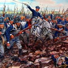 The Prussian Army, with Blücher in front, in a painting by Carl Röchling
