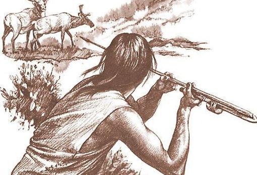 Atlatl, en una representación previa a los méxicas