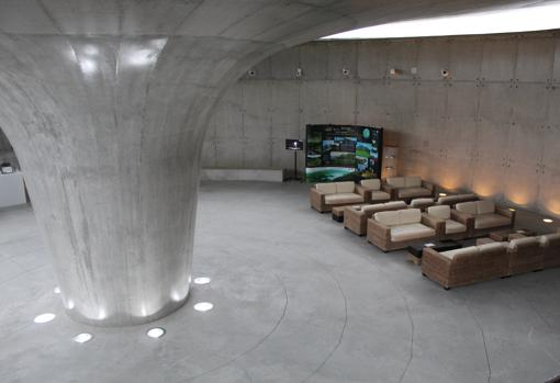Una sala del centro de interpretación del volcán de Capelinhos