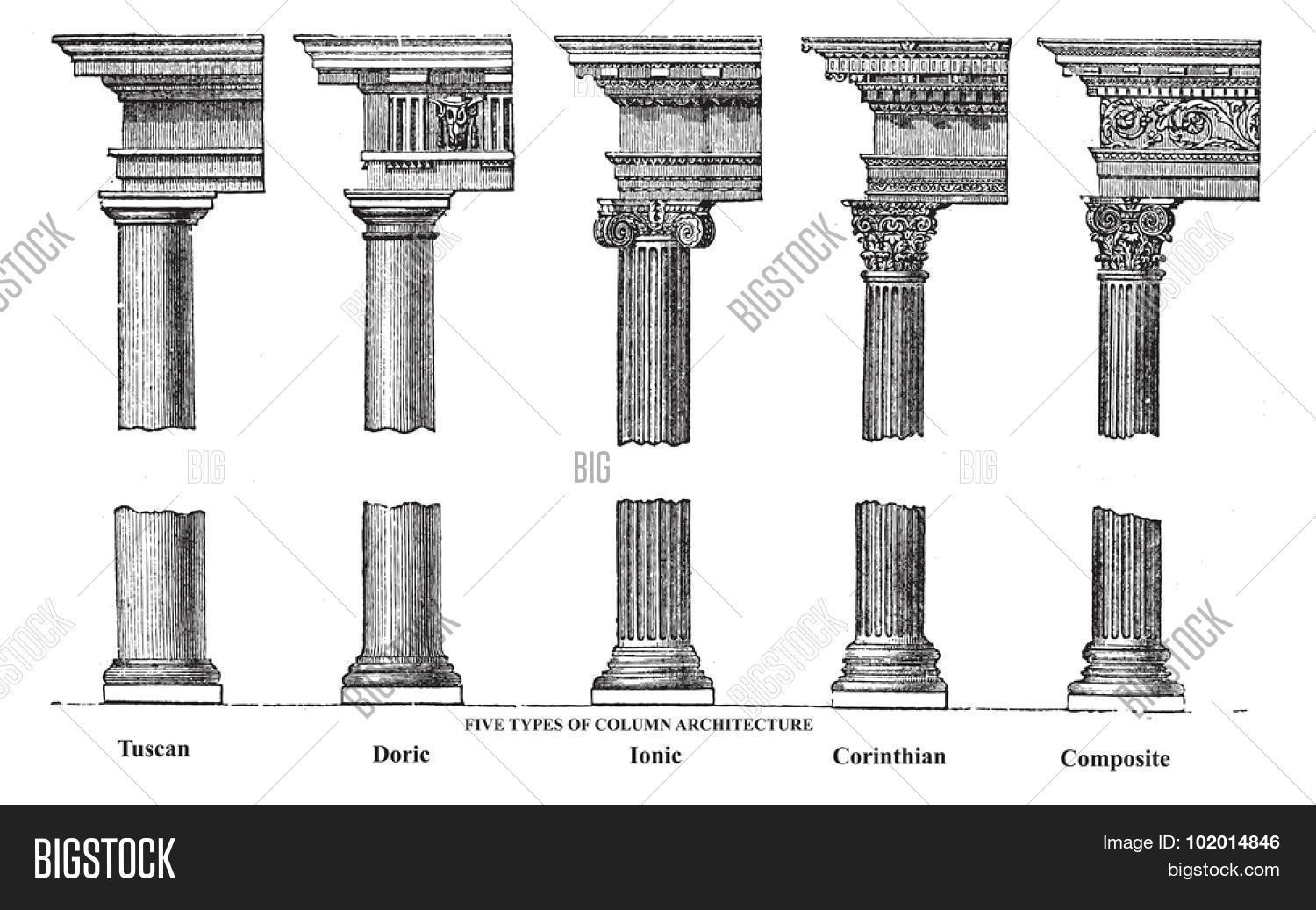 Five Types Old Column Vector Amp Photo Free Trial