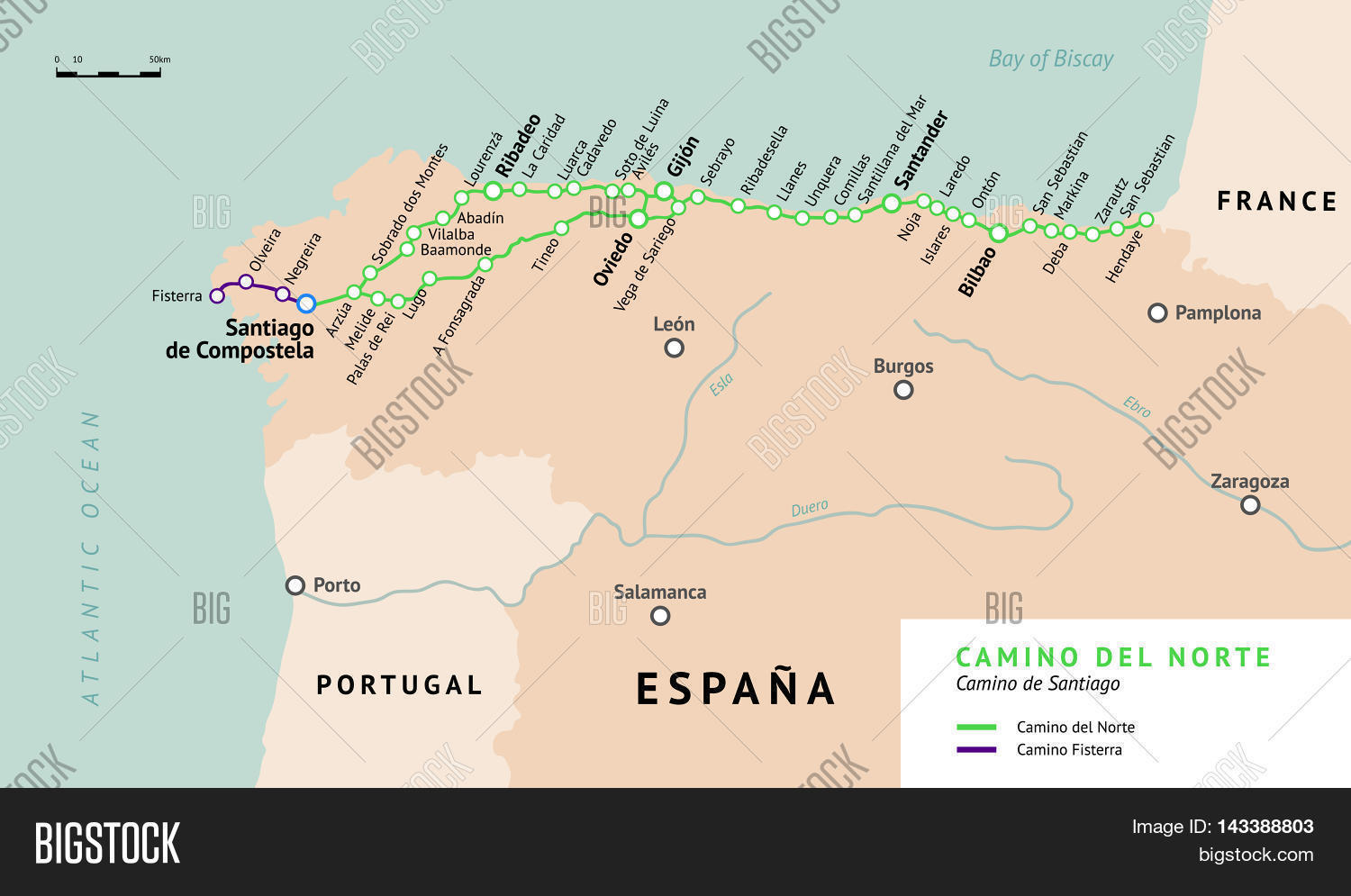Camino Del Norte Map Vector   Photo  Free Trial    Bigstock Camino del Norte map  Camino De Santiago or The Way of St James