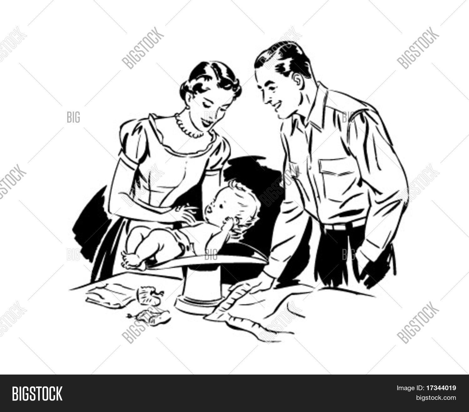 Mom Dad Weighing Baby Vector Amp Photo Free Trial