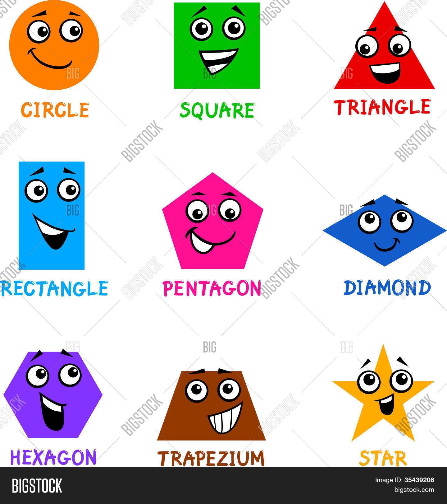 Basic Geometric Shapes Cartoon Vector Amp Photo
