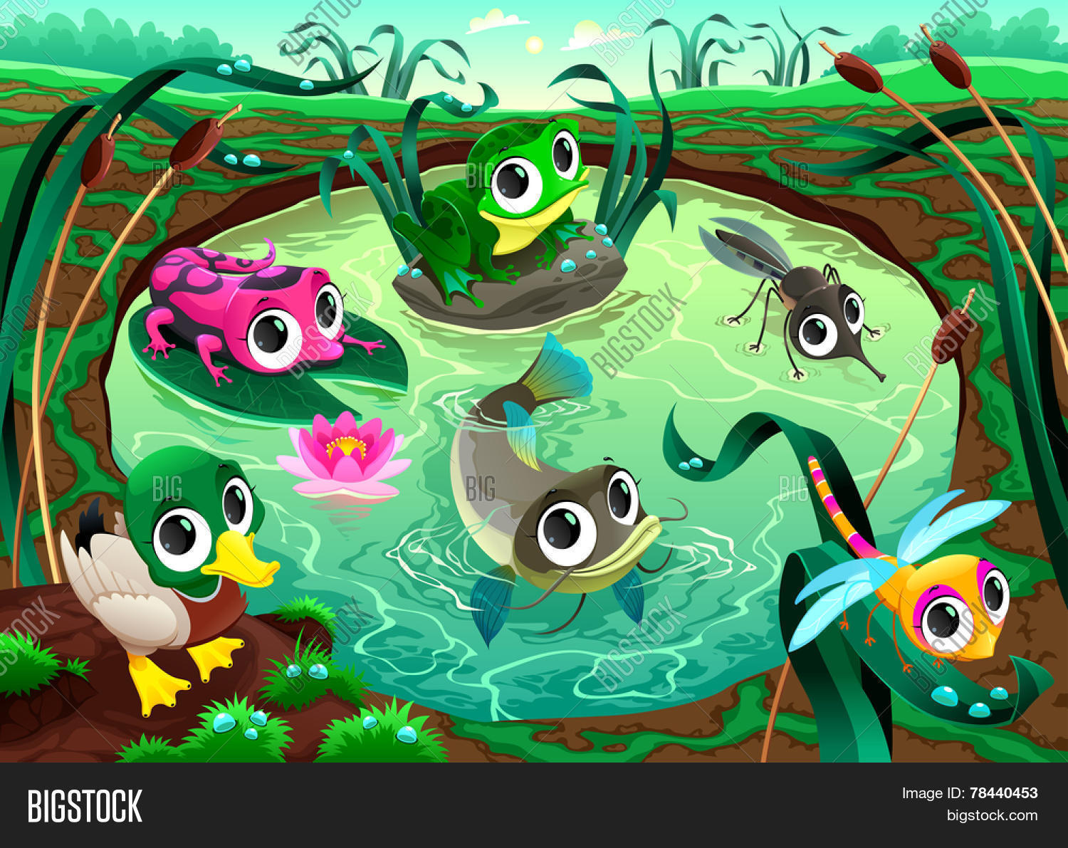 Funny Animals Pond Vector Amp Photo Free Trial
