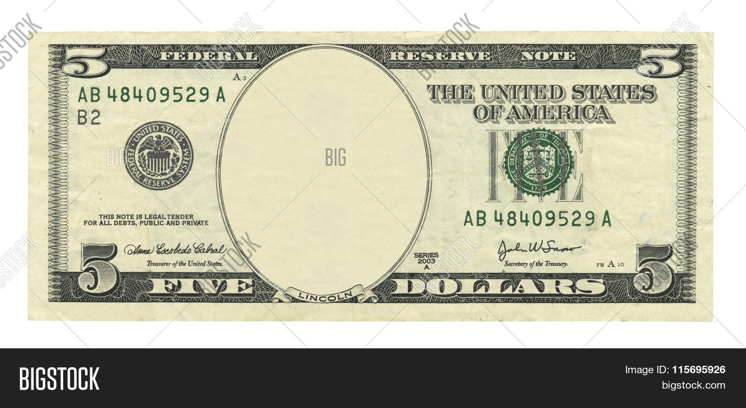 Blank 5 Dollar Bill Image Amp Photo Free Trial