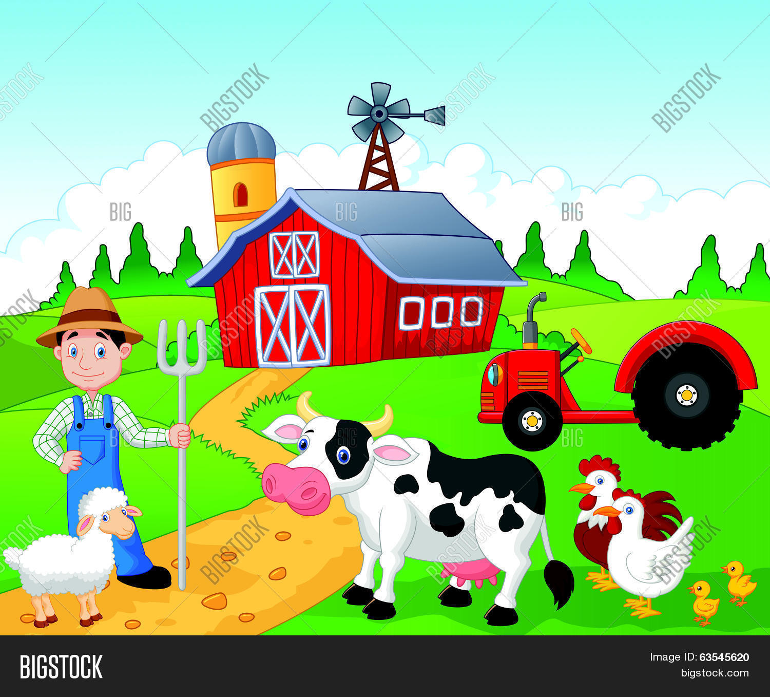 Farmer Cartoon Vector Amp Photo Free Trial