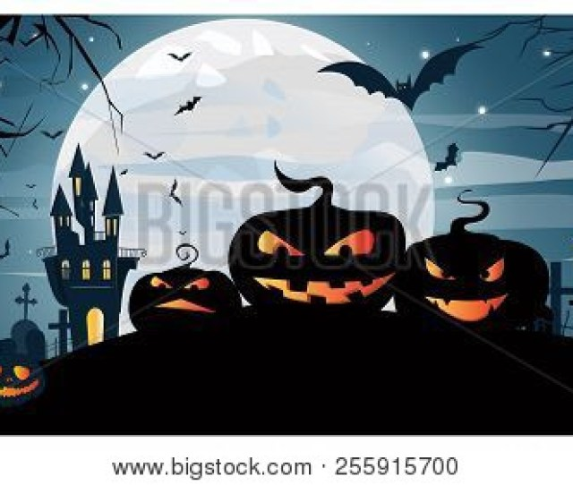 Jack O Lanterns Smiling Against House Moon And Cemetery Vector Illustration Halloween Night Background Holiday Concept For Websites Wallpapers Banners