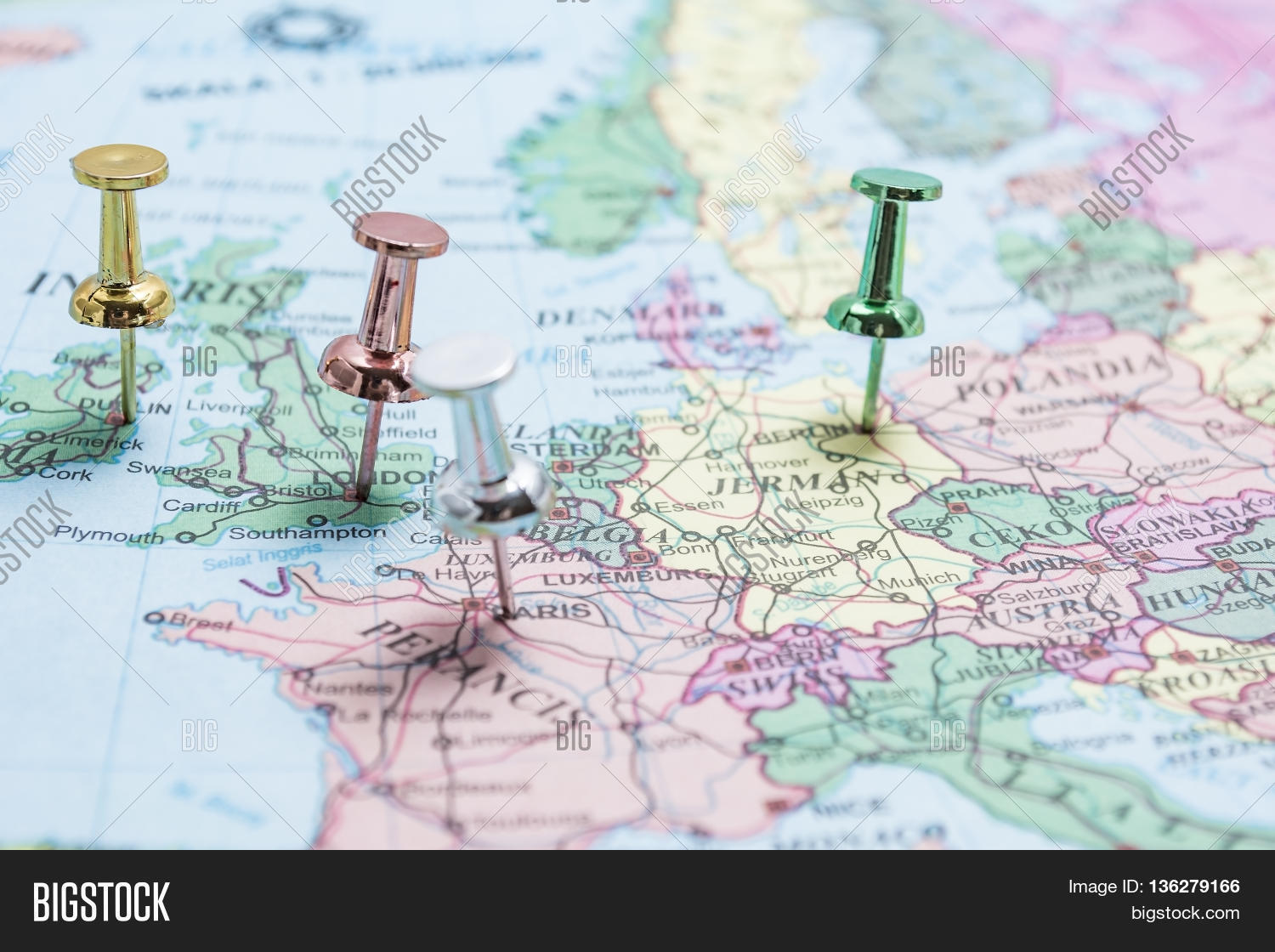 Map Europe Pins On Image   Photo  Free Trial    Bigstock Map of Europe with pins on the major cities of London Berlin Paris Dublin
