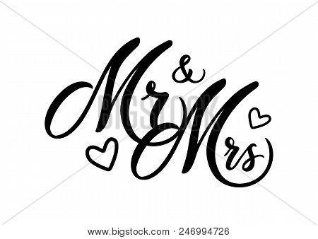 wedding mr mrs word vector photo