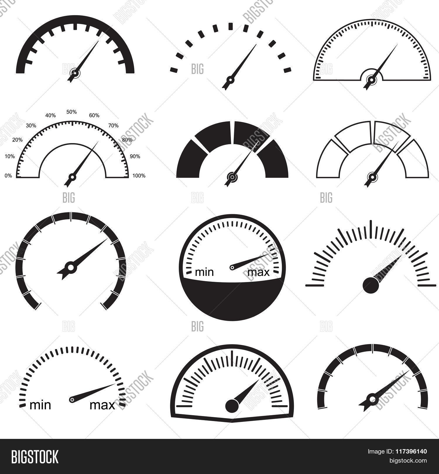 Speedometer Gauge Icons Set Vector Amp Photo