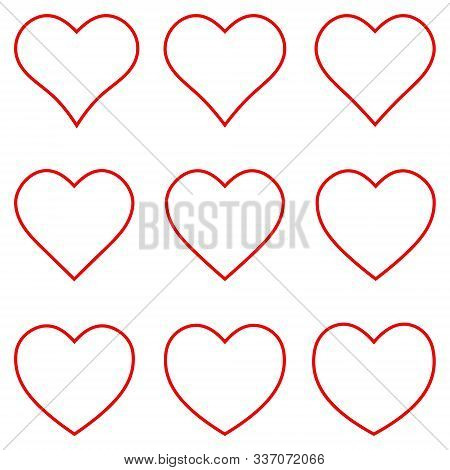 Set Red Heart Shape Vector Photo Free Trial Bigstock