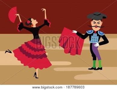 Spanish Matador Vector Photo Free Trial Bigstock Cartoon Clipart Bullfighting Illustration Toreador Man
