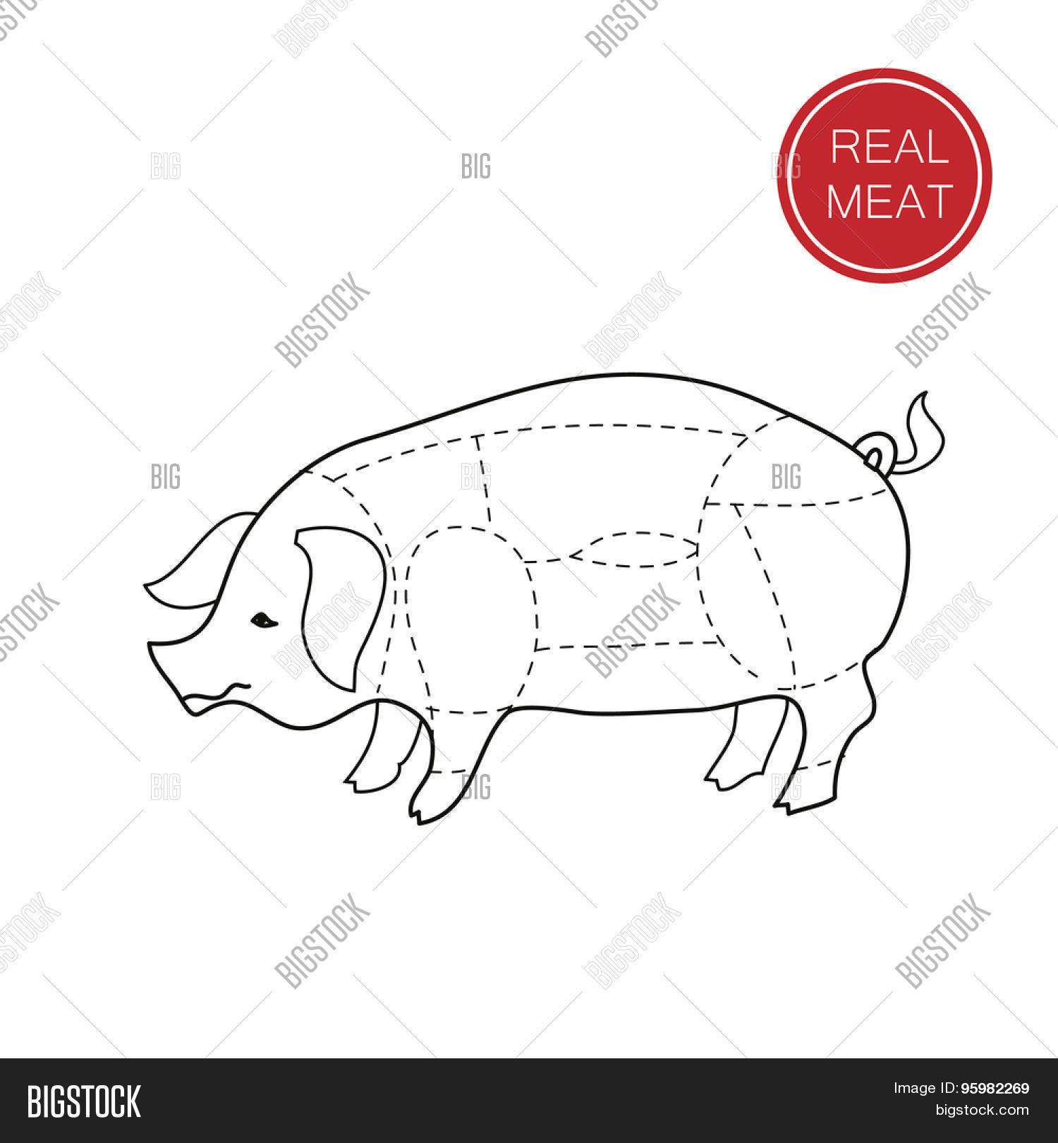 Real Meat Butcher Vector Amp Photo Free Trial