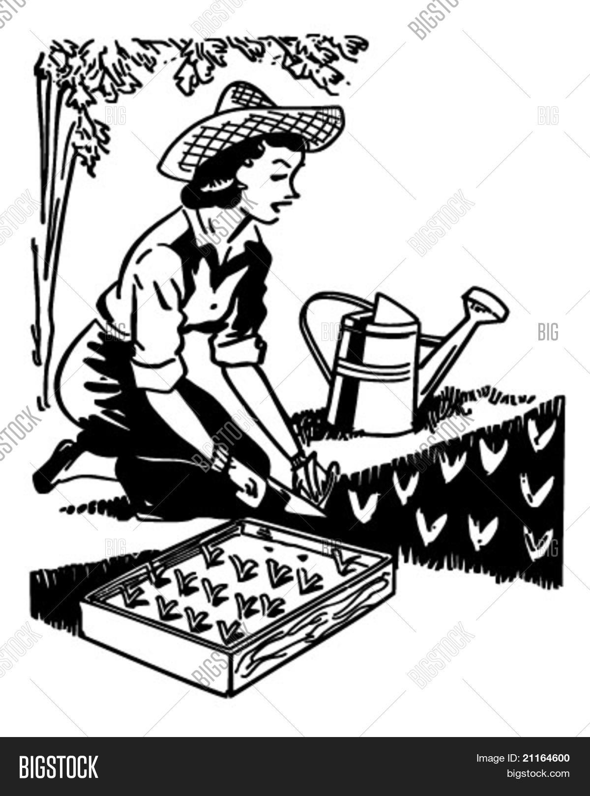 Woman Planting Garden