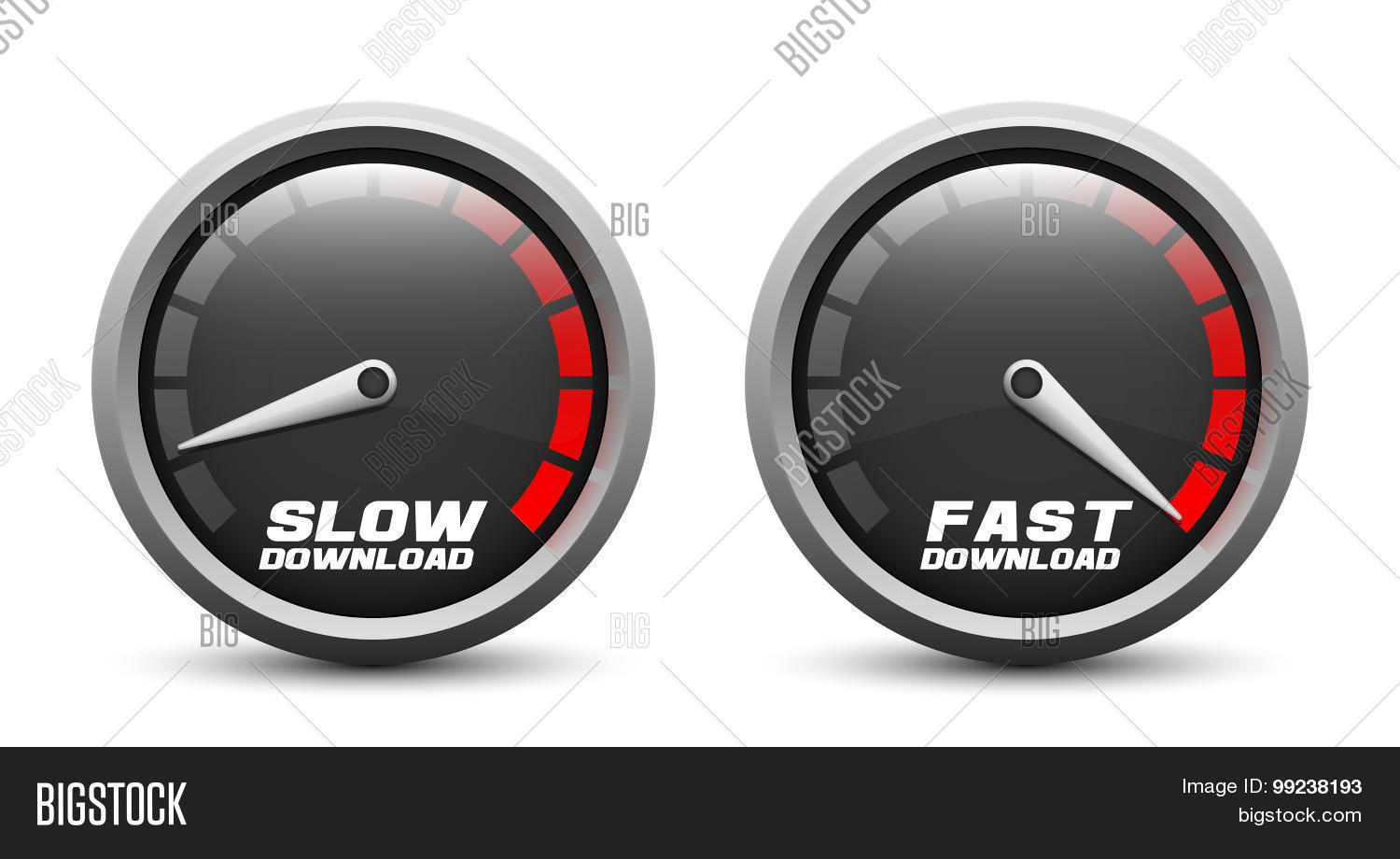 Slow Fast Download Speed Icons Vector Amp Photo