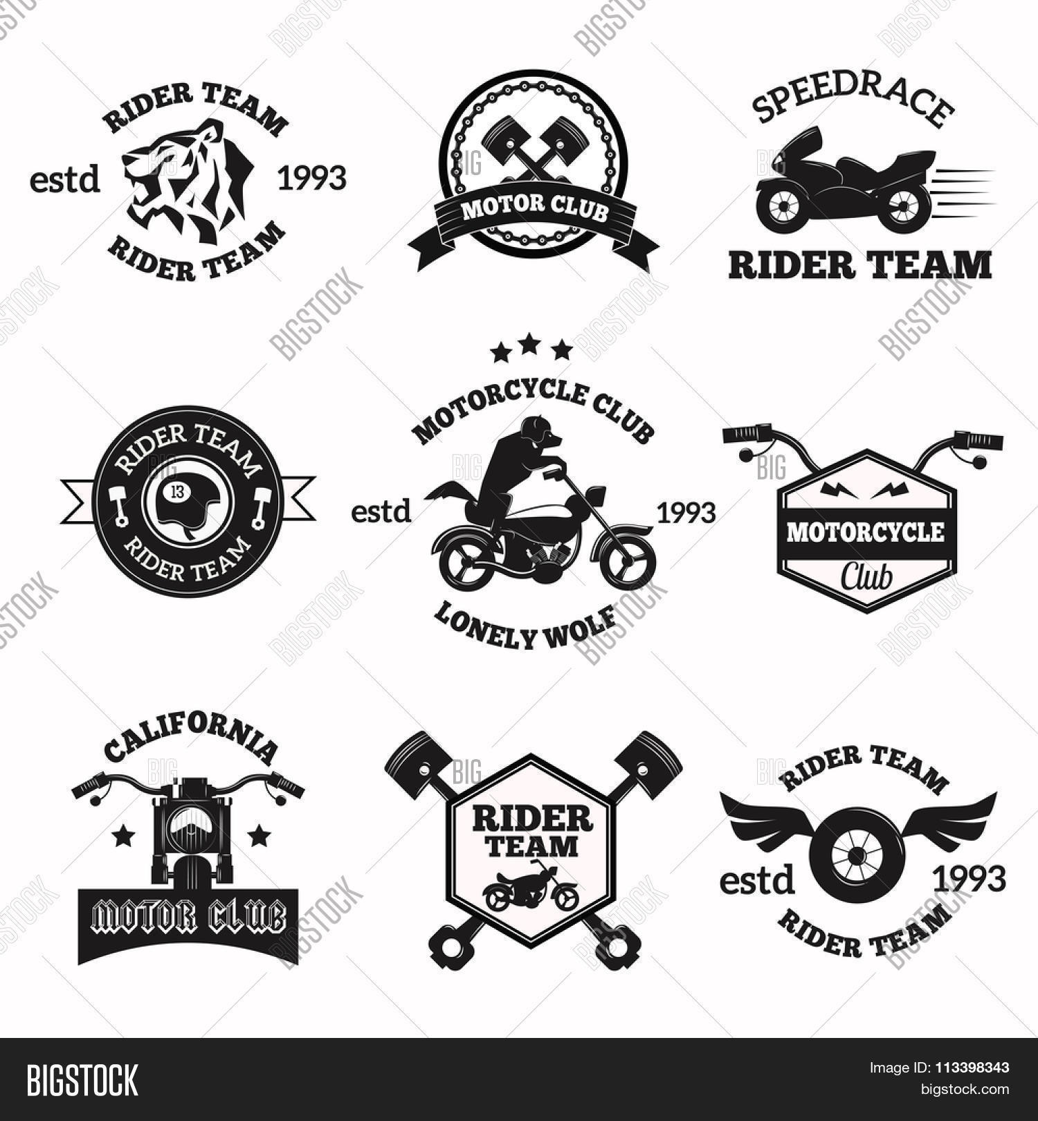Bikers Badges Emblems Vector Icons Bikers Club Logo Icon