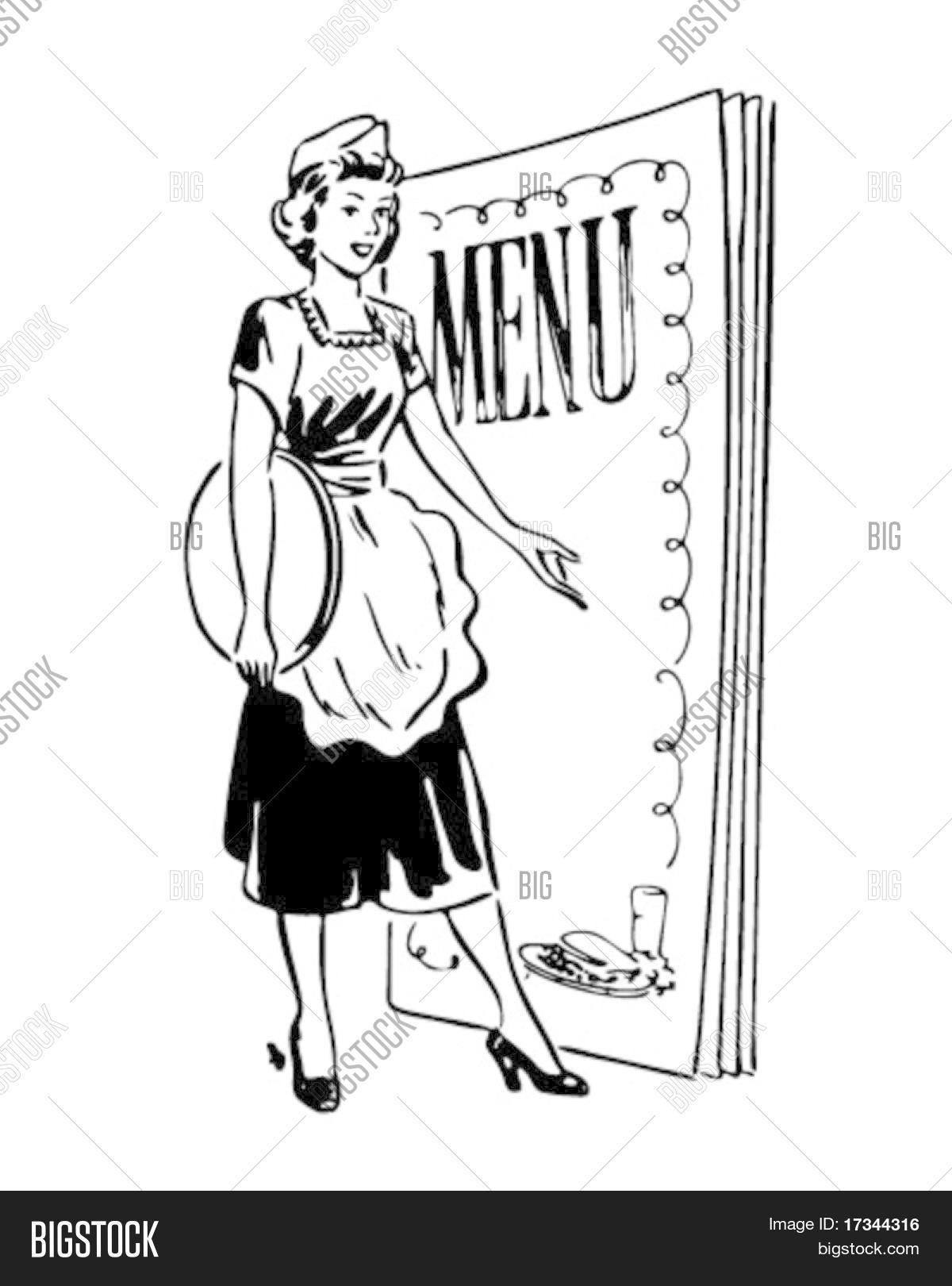 Waitress Menu Behind