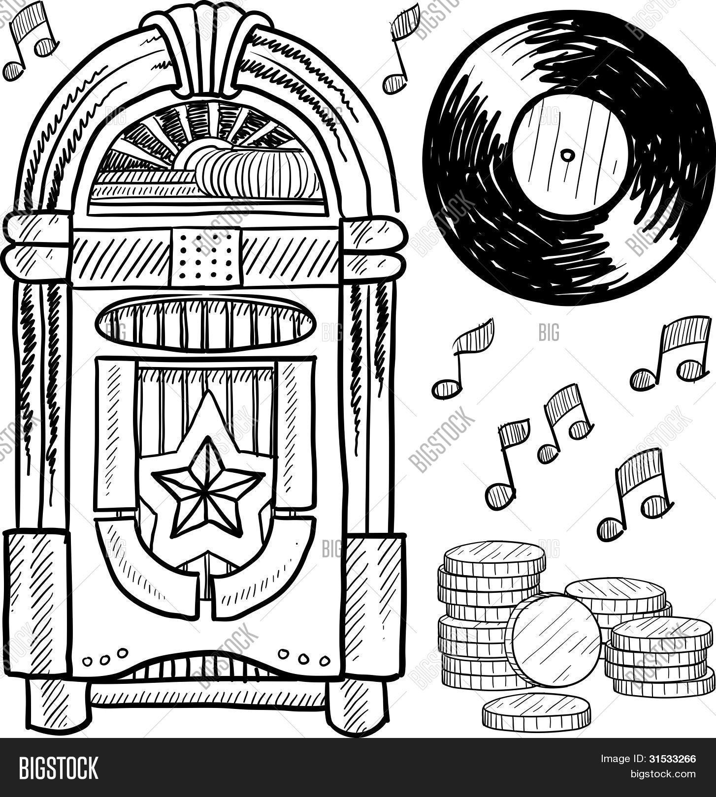 Vintage Jukebox Sketch Stock Vector Amp Stock Photos