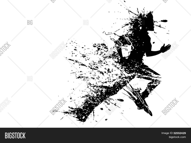 Illustration Of Splashy Runner Silhouette On White
