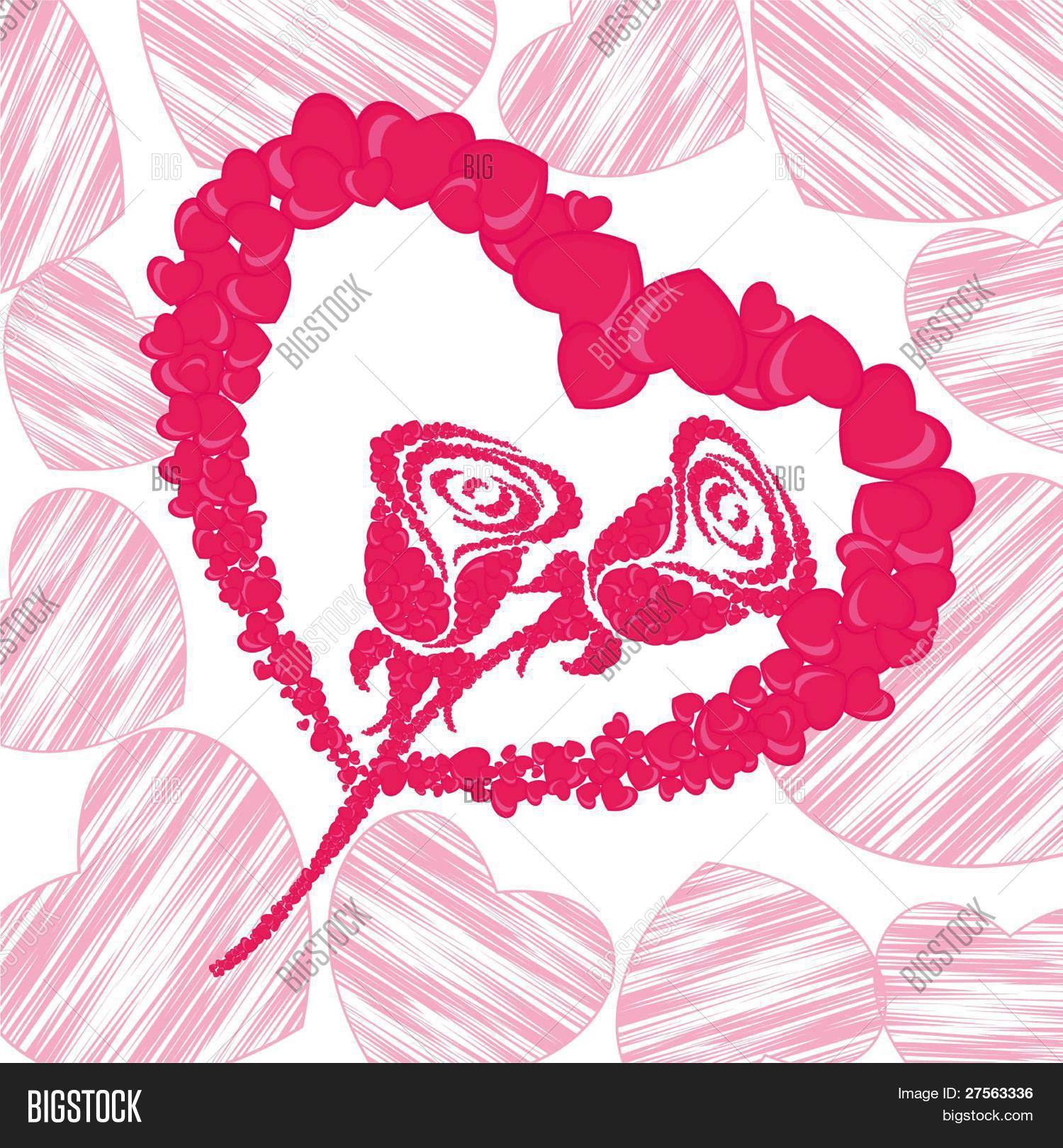 Heart Shape Made With Small Hearts Shapes With Roses In Pink Color Greeting Card For Valentine