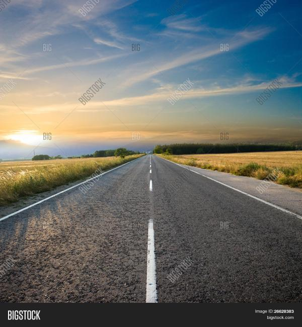 Straight Road Colorful Sunset Image & Photo | Bigstock