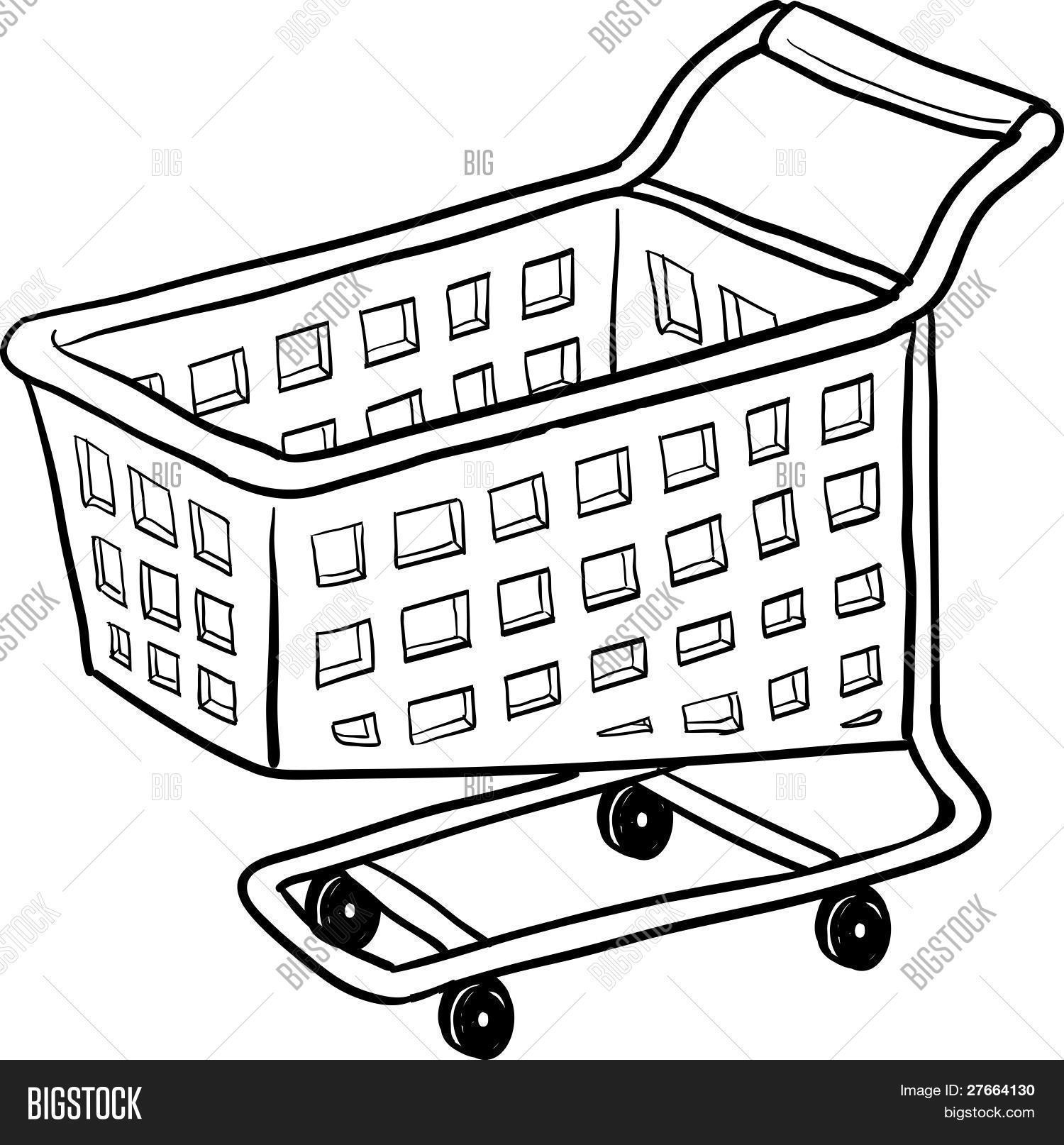Shopping Cart Drawing Vector Amp Photo