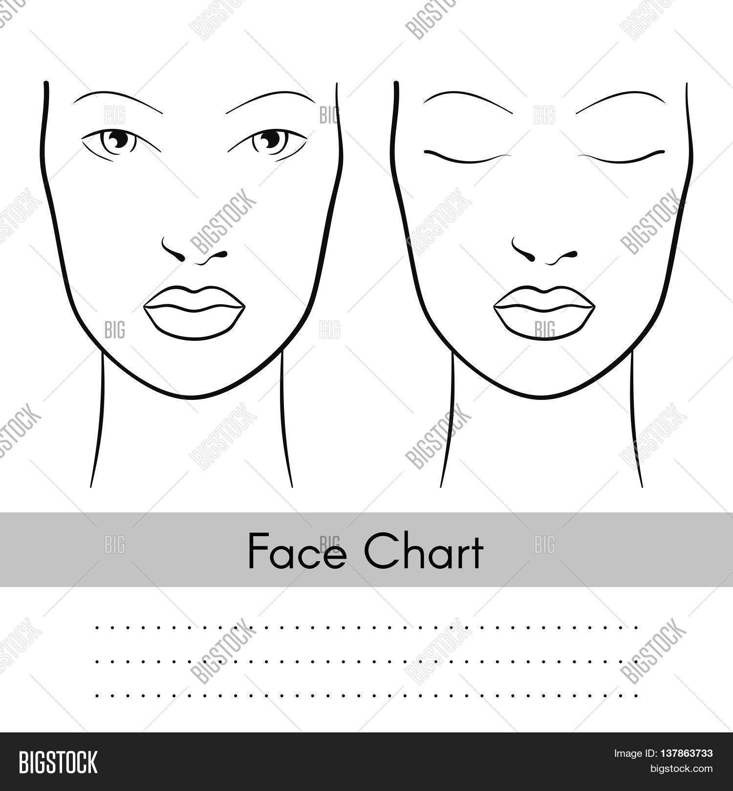 Vector Beautiful Woman Face Chart Portrait Female Face