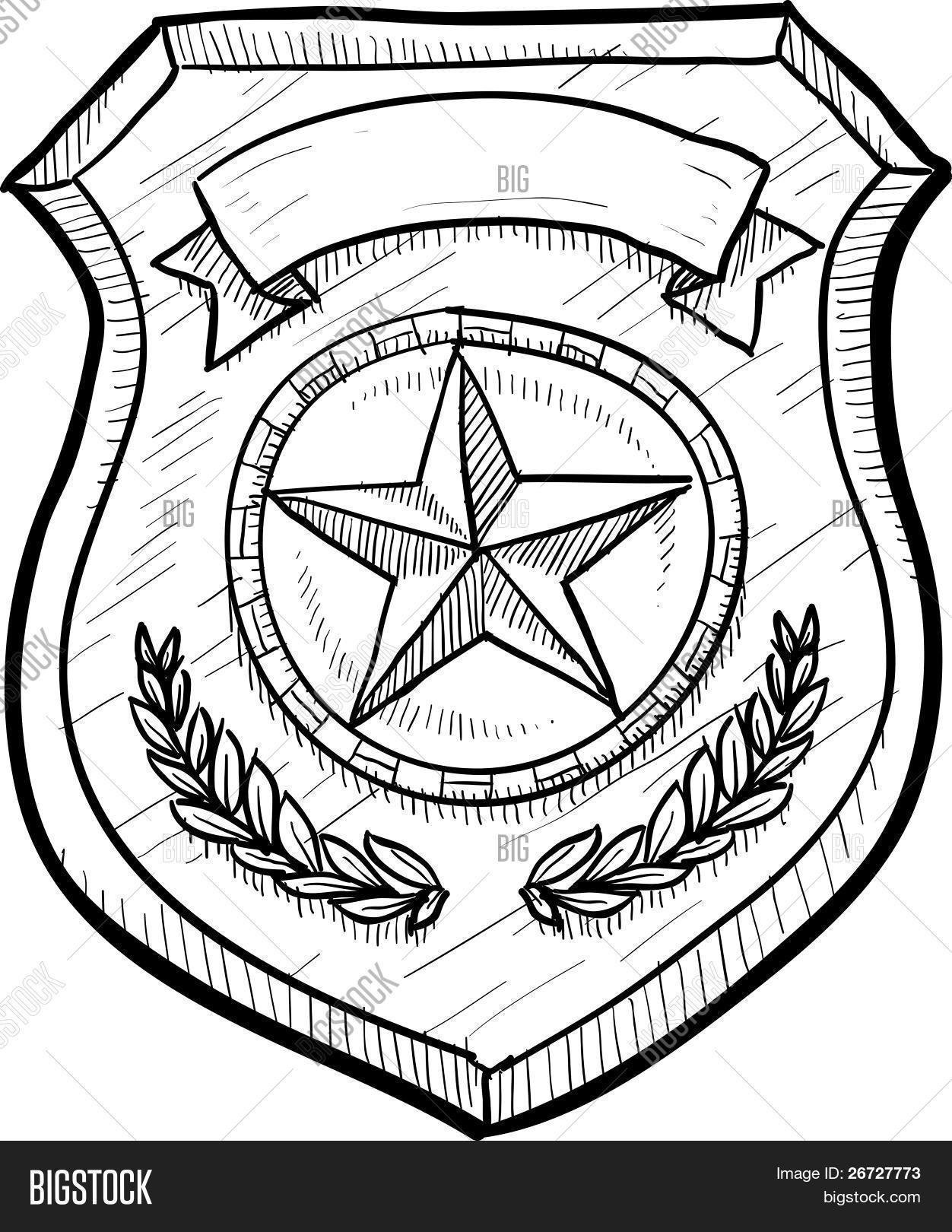 Police Badge Sketch Stock Vector Amp Stock Photos