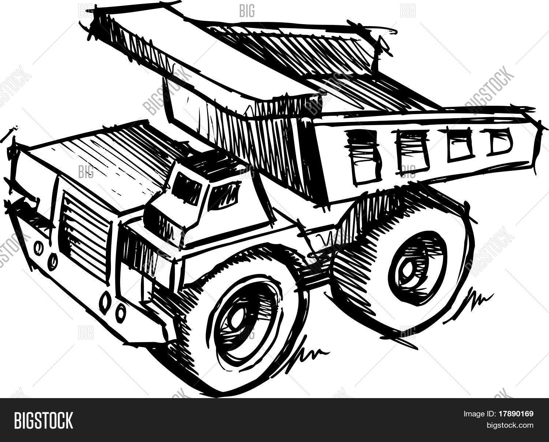 Sketch Of A Dump Truck Vector Illustration Stock Vector