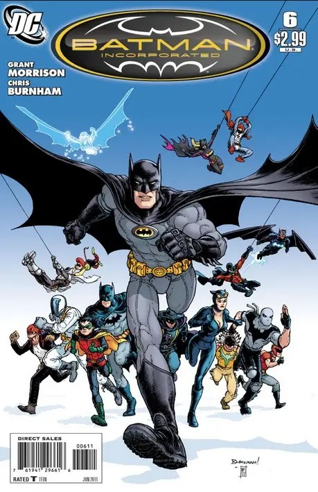 "2010-2011: ""Batman Incorporated"" – When Bruce Wayne publicly announced he was funding an international organization with Bat-members from all over the world, he returned to a traditional grey and black costume maintaining the yellow oval."