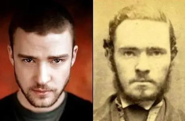 Here's Justin Timberlake, who uncannily resembles this old-time criminal in a mug shot.