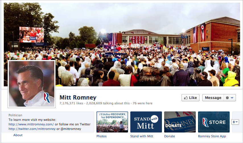 Romney's Facebook page is newer and, therefore, has a smaller following. This page, which takes a less intimate picture approach, has 7,176,371 likes.
