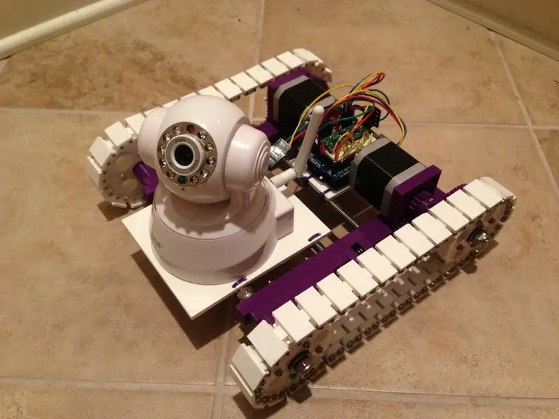 The platform for this roving Wi-Fi camera system was built on a 3D printer.